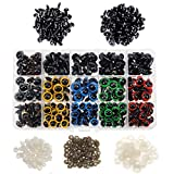 TOAOB 728 Pieces 6 to 12mm Plastic Colorful Safety Eyes And Triangle Noses with Washers for Plush Animal Making