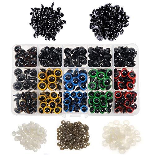 TOAOB 728 Piezas 6 hasta 12 mm de Ojos de Seguridad de Multicolor Plástico y Negro Seguridad Narices con Arandelas para Hacer Muñecas