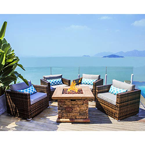 COSIEST 5-Piece Faux Brown Propane Fire Pit Outdoor Furniture Brown Chairs, Warm Gray Wicker Thick Cushion Sofa w 32-inch Square Propane Fire Table (50,000 BTU) for Garden, Pool, Backyard