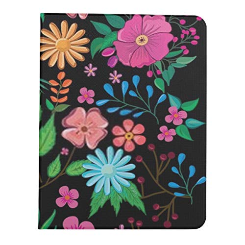 Ipad Pro 11 Case 2020&2018 Smart Flowers Pattern On Black Background Colorful Protective Cover for Ipad Pro 11[Support 2nd Gen Pencil Wireless Charging] Pad Pro 11in Case Tablet Case with AUT