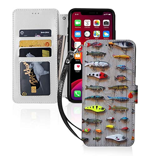 The Best Bait for Fishing for iPhone 11 Wallet Case with Card Holder, Kickstand Function, TPU Durable Shockproof, PU Leather Magnetic Closure Protective Flip Cover Case for 2019 iPhone 11(6.1 inches)
