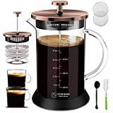 Upgraded French Press Coffee Maker Glass 34oz, French Coffee Press with Glass handle and non-slip silicone base Precise Scale Easy to Clean Durable Heat Resistant Black/Copper/Silver