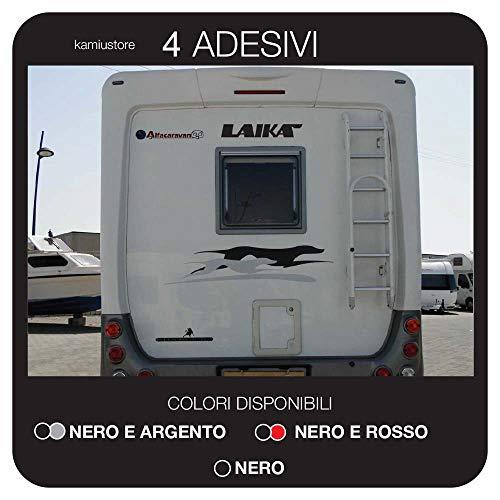 kamiustore Adesivo Laika MOD.Cani per Camper, roulotte, furgoni Van e Barche in Vinile per Esterni - 4 Adesivi 100x25cm (Nero/Argento)