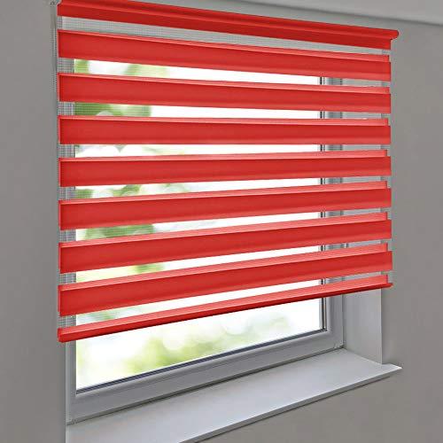 Doppelrollo PREMIUM 140 x 180 cm rot - Duorollo Vario Seitenzug zum Anschrauben freihängend für Wandmontage und Deckenmontage - inkl. Metallträger