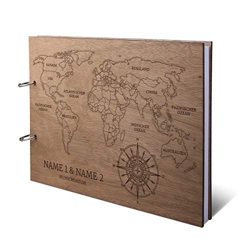 Hochzeit Gästebuch Okoume Holz Gravur individuell Holzcover mit 144 Naturpapier Innenseiten DIN A4 quer 302 x 215 mm - Weltkarte