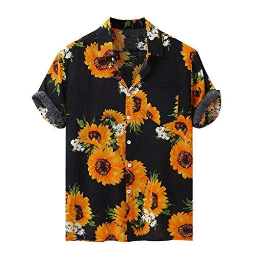 JiaMeng_ZI Ropa de Moda, Hawaiana Estampado de Girasol Camisa Casual Suelto Manga Corta Shirt Blouse Colorful Verano Cárdigan Transpirable Tejido Compuesto Tops