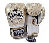 Top King Boxing Gloves Gold White Snake Skin 8,10,12,14,16 oz. Sparring Training Muay Thai Kickboxing MMA K1 (10 oz.)
