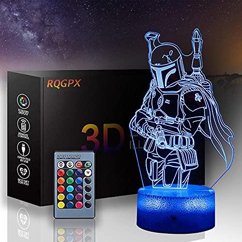 3D Night Light Star Wars Lámpara de noche de ilusión 3D Mandalorian 16 colores cambio automático interruptor táctil escritorio regalo cumpleaños con mando a distancia