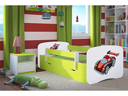 Kocot Kids Kinderbett Jugendbett 70x140 80x160 80x180 Grün mit Rausfallschutz Matratze Schublade und Lattenrost Kinderbetten für Mädchen und Junge - Rennwagen Motiv 180 cm
