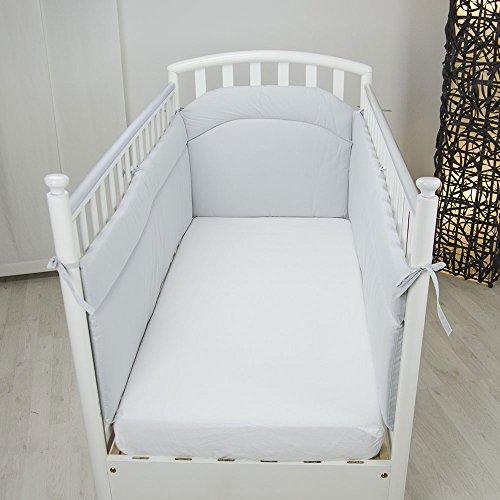 Babysanity® MORBIDO PARACOLPI Lettino Culla Neonato Bambino Protezione Avvolgente Cotone- MADE IN ITALY- Lati Lunghi Grigio