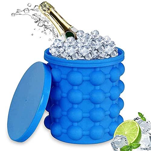 Eiswürfel Silikonform, Eiswürfelbehälter mit Deckel, Rund Silikon Eiseimer, Ice Cube Maker, EiswüRfel Groß Eis für Bier, Cocktails und Whisky