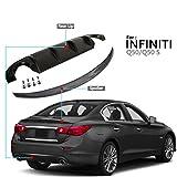 NINTE for 2014-2017 Infiniti Q50/Q50s Carbon Fiber Coating ABS Sleek Trunk Spoiler Wing & Matt Black Rear Diffuser