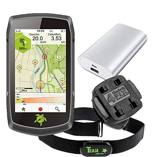 TEASI ONE4 - Fahrrad- & Wandernavigation + Fahrradhalter Lenker + USB Netzteil + Schutzfolie + optionales Zubehör (Teasi one4 + MTB Fahrradhalter, Herzfrequenz-Sensor + Powerbank)