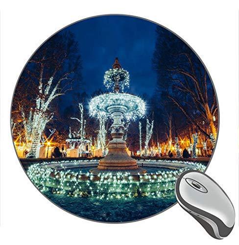 Kroatien Zagreber Brunnen Schöne Weihnachtsbeleuchtung Shine Night Print Runde Desktop-Mauspad Gaming Rubber Mouse Pad