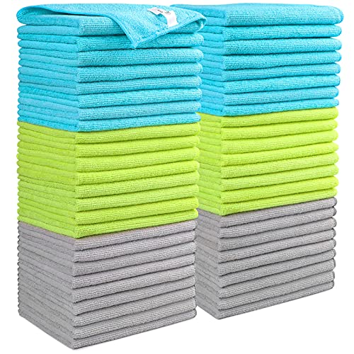 AIDEA Microfiber Cleaning Cloths-50PK, Softer Highly Absorbent, Lint Free Streak Free for House, Kitchen, Car, Window Gifts(12in.x16in.)