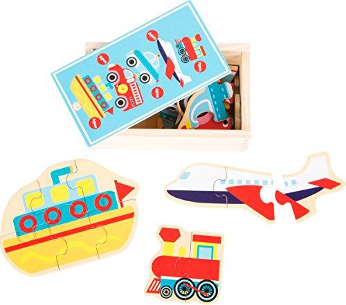 small foot 10549 puzzelbox voor het puzzelen van vijf verschillende soorten vervoersmiddelen van hout, met verschillende moeilijkheidsniveaus, praktische houten kist die ook geschikt is voor transport