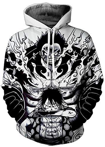 PANOZON Sudaderas One Piece Hombre Luffy 3D Camisetas de One Piece Unisex Hoodie con Capucha (L, Negro Blanco 22-1)