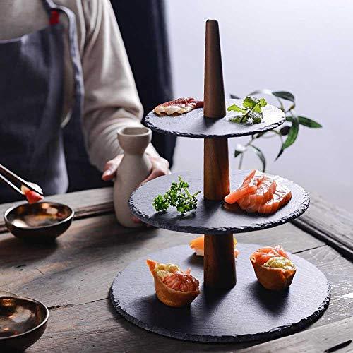 Fiaoen - Bandeja antideslizante para tartas de 3 niveles para cupcakes, sushi, madera natural, bandeja de servicio para fiestas, bodas, 3 niveles