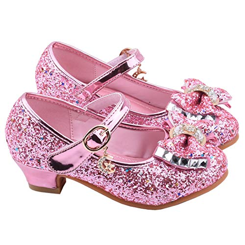 Soolike Zapatos Tacon Niña Zapatillas Princesa Lentejuelas Infantil Sandalias de Vestir Fiesta Bowknot/Decoración de Mariposas para Niñas,Duradero Brillante,Zapatos de Cosplay de Princesa