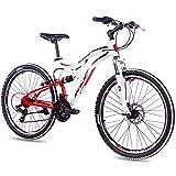 KCP Vélo VTT 26' – VTT Fairbanks Blanc/Rouge – Suspension complète pour Jeunes,...
