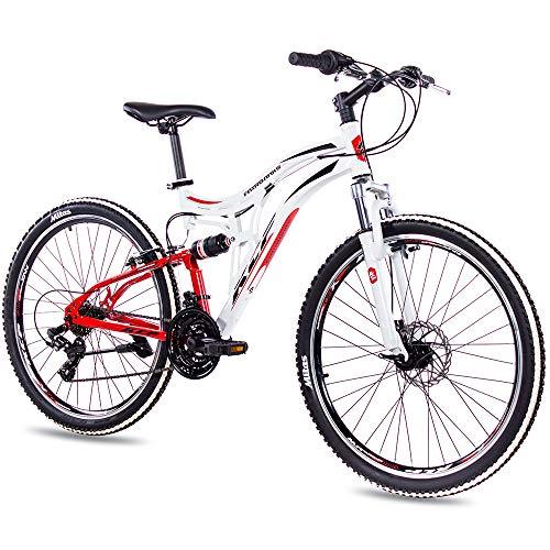 KCP Fairbanks Bicicleta de montaña de 26 pulgadas, blanca y roja, suspensión completa, unisex, con cambio Shimano de 21 velocidades