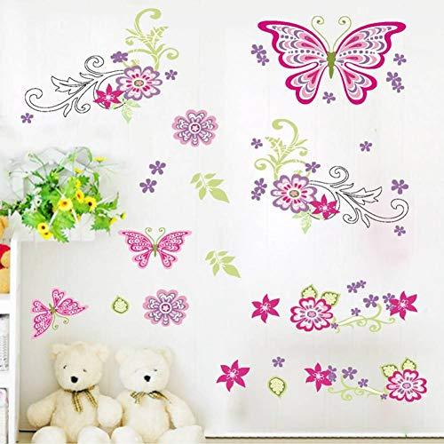 SHKL wandtattoo Flying vlinder bloem slaapkamer woonkamer raamdecoratie wandtattoo kinderkamer wanddecoratie