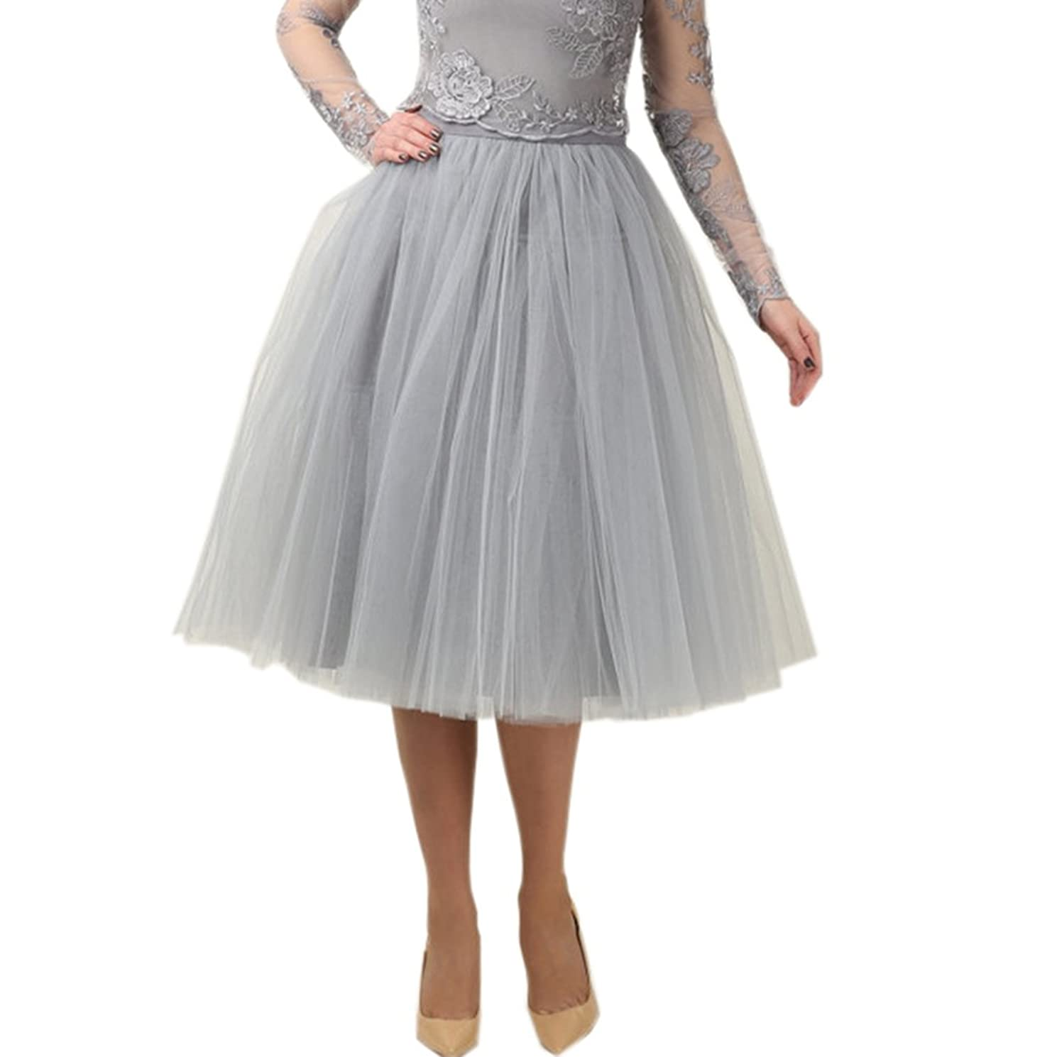 Lisong Women Tea Length 5-Layered Tulle A-line Tutu Party Prom Skirt