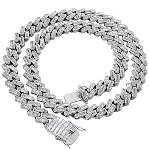 Harlembling Solid 925 Sterling Silver Men's Iced Miami Cuban Chain Or Bracelet - Heavy 18mm Cuban Link - ICY Bust Down - Baguette Prong Cuban