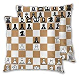 VINISATH Juego de 2 Fundas de cojín,Posición de Apertura en el Tablero de ajedrez Letras Números Cuadrados Piezas Impresión,Decorativa Cuadrado Suave Funda de Almohada Sofá Sillas Cama,45x45cm