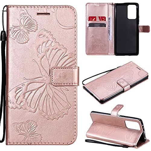 SMYTU Custodia per Xiaomi Redmi Note 10 PRO 4G,Cover a Libro Xiaomi Redmi Note 10 PRO 4G,Custodia Flip in Pelle Magnetica Portafoglio per Xiaomi Redmi Note 10 PRO 4G (B-Goldrose)