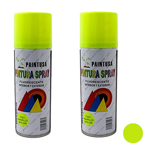 Paintusa - Pack de 2 botes de pintura en spray Amarillo fluorescente F201 200 ml