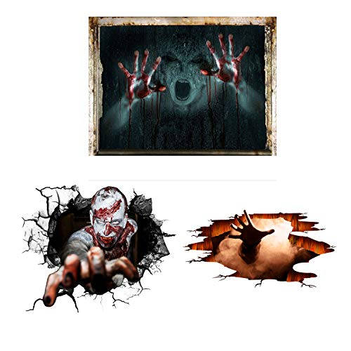 SENGTER 3PCS Horror Stickers Zombie Vampire Monster Ghost Wall Murals Wall Decals Removable Wallpaper Wall Art 3D Wall Decor for Bedroom Clubs Parties