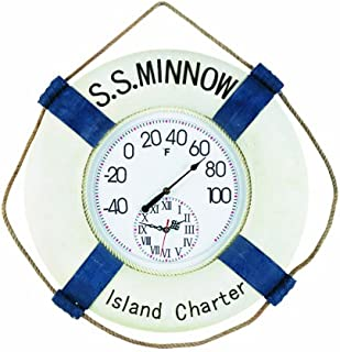 RAM Gameroom Products Outdoor Decor S.S. Minnow Fahrenheit Clock and Thermometer