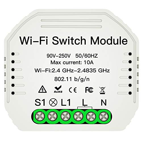 Kaxofang Wifi Light Switch Diy Breaker Module Life/Tuya APP Control Remoto, Funciona con Alexa Echo Home 1/2 Way