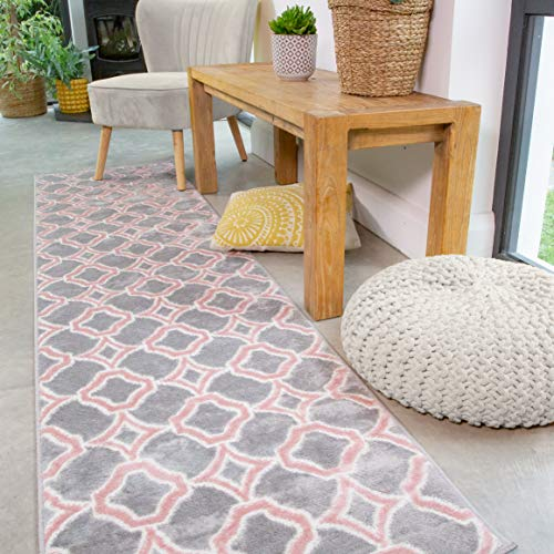 Plush Grey Blush Pink Geometric Trellis Rug Runner Modern Soft Living Room Area Bedroom Hallway Rugs 60cm x 240cm