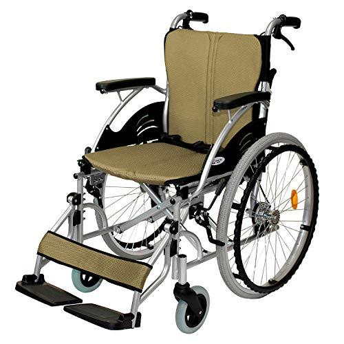 ケアテックジャパン 自走式 アルミ製 折りたたみ 車椅子 ハピネス ゴールド CA-10SU
