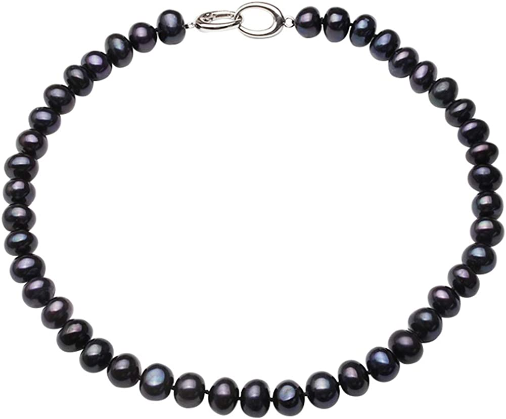 HENGSHENG Freshwater Near Gorgeous Round Pearl Necklace NEW before selling ☆ mm Black 8-9 Natu