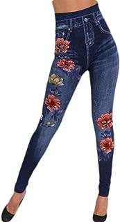 Women Flower Leggings Cotton High Waist Jeggings Denim Print Fake Jeans