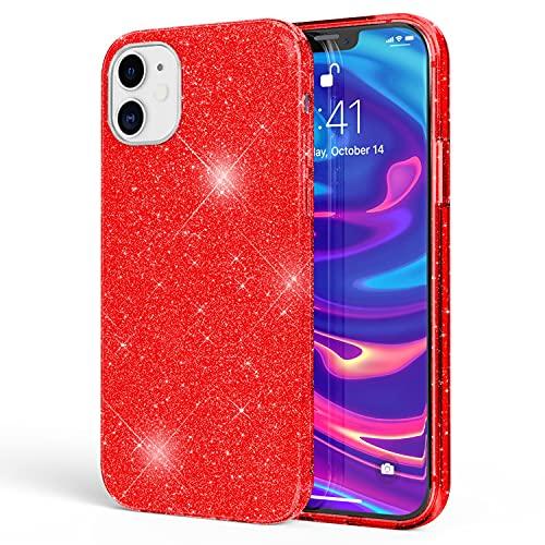 NALIA Purpurina Carcasa Compatible con iPhone 12 Mini Funda, Glitter Case Brillante Silicone Cubierta Telefono Movil Proteccion, Delgado Bling Cover Bumper Diamante Resistente, Color:Rojo