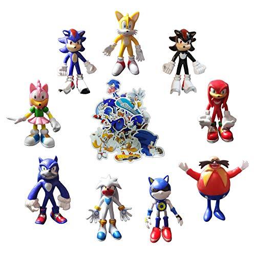 XINSHENG Sonic toys 9 unids/set Sonic Shadow Action Game Anime Figure Doll Super Sonic El erizo Sombra Juguetes de PVC Plástico Sonic Juguetes de Sonic Colecciones Modelo Muñeca