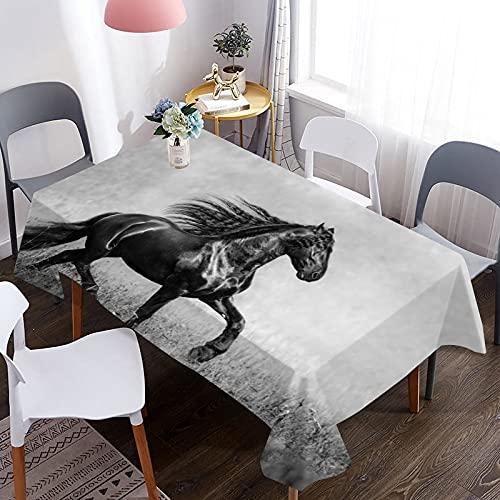 Mantel Impermeable con patrón de Caballo de pastizal Africano 3D, Adecuado para Picnic, Fiesta de cumpleaños, Cena y decoración del hogar M-6 140x180cm