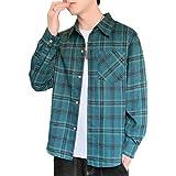 Camisa a Cuadros para Hombre, Tendencia a la Moda, Estampado de Personalidad, cómoda Camisa Informal de Manga Larga con Bolsillos M
