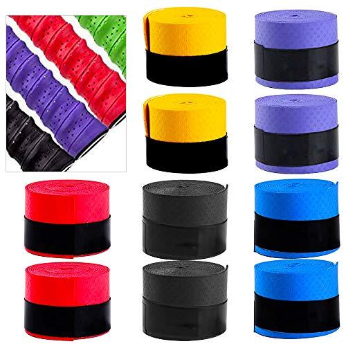 HAPPY FINDING 10 Stück Griffband Anti-Rutsch Overgrip Badminton Grip für Tennis Griffbänder Squash Schläger Anti Slip und Saugfähigen Griff