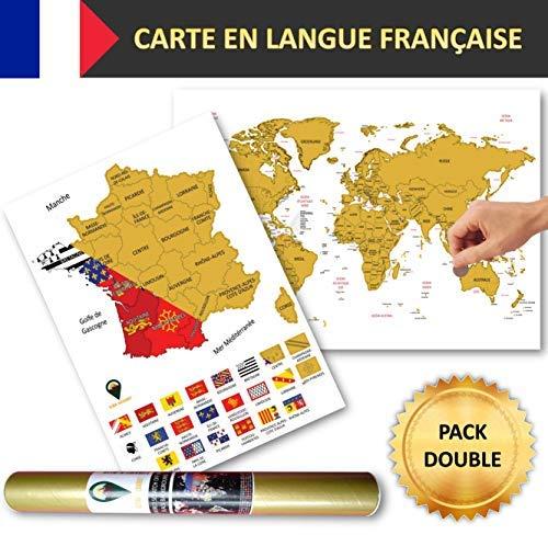 Global Walkabout Franse A3-vlaggen wereldkaarten met A3-landkaarten Kleur: wit