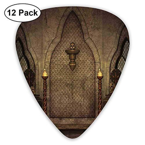 Gitaar Picks12pcs Plectrum (0.46mm-0.96mm), Fantasy Scene Met Oude Fashioned Houten Fakkel En Schedel Kandelaars In Donkere Spookachtige Kamer,Voor Uw Gitaar of Ukulele