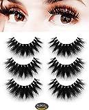Mink Fake Eyelashes -Dramatic Mink 3D Lashes Makeup Strip Eyelashes 100% Siberian Fur Fake Eyelashes Hand-made False Eyelashes 3 Pair Package