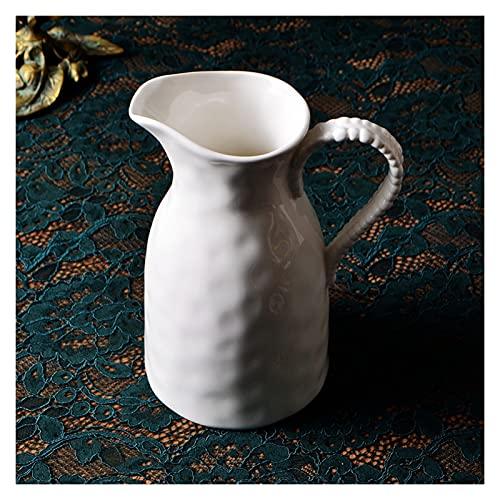 YIFEI2013-SHOP Jarra de Agua Jarra de cerámica Blanca con Mango cómodo Agua fría de Gran Capacidad Jug de la Jarra de Leche Grande para Jugo, Leche, Bebidas Calientes y frías Jarras
