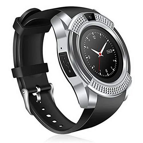 Tiowea Smartwatch, bluetooth, smartwatch, middelgroot stembereik, fitnesstracker, sporthorloge met camera, stappenteller, slaaptracker, rote capture compatibel met Android Smartphon Smartwatches 53x44.8x12.95mm zilver