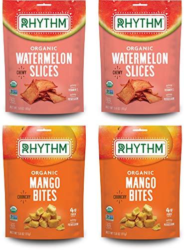 Rhythm Superfoods Variety Pack, Chewy Watermelon Slices/Crunchy Mango Bites, Organic & Non-GMO, 1.8 Oz (Pack Of 4), Vegan/Gluten-Free Sweet Fruit Snacks