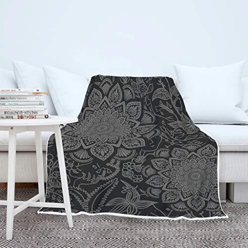 AXGM Manta para adultos y niños, diseño de plantas tropicales, muy cálida, 130 x 150 cm, color blanco